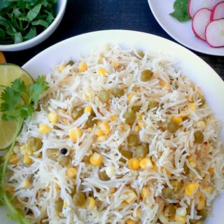 Makai and Channa Pulao - Corn and Green Chickpea Pulao