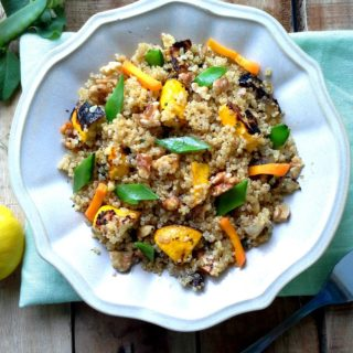 Quinoa with toasted walnuts and roasted pattypan squash