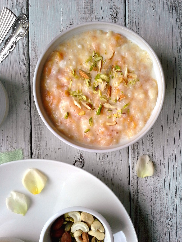 Peach Rice Pudding - Peach Ki Kheer